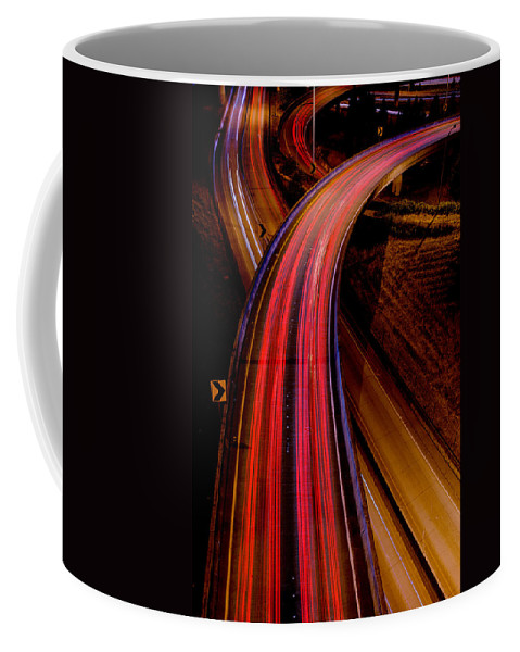 Abstract Of Freeway Coffee Mug featuring the photograph Freeway Lights 1 by Mike Penney