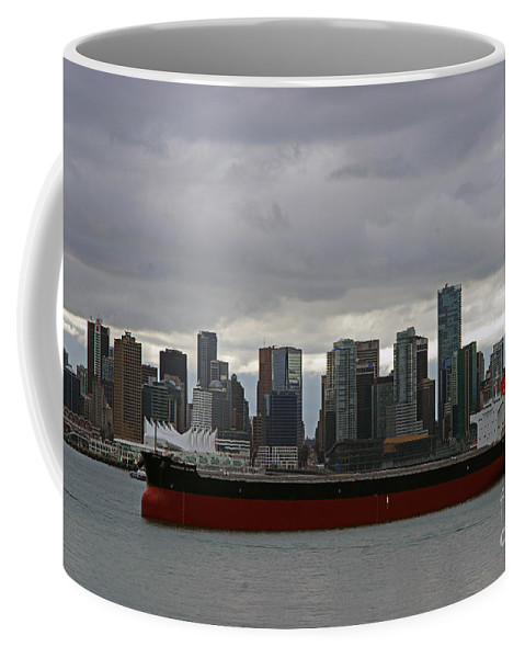 Seascape Coffee Mug featuring the photograph Freighter In Port by Randy Harris