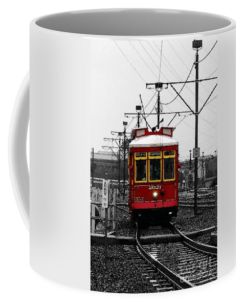 French Quarter French Market Cable Car New Orleans Color Splash Black And White With Watercolor Coffee Mug For Sale By Shawn O Brien