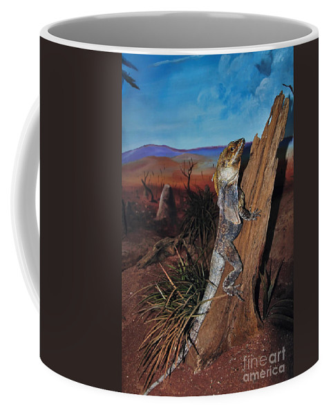 Photography Coffee Mug featuring the photograph Frill-necked Lizard by Kaye Menner