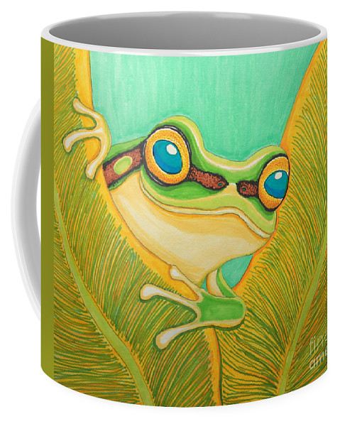 Frog Coffee Mug featuring the drawing Frog Peeking Out by Nick Gustafson