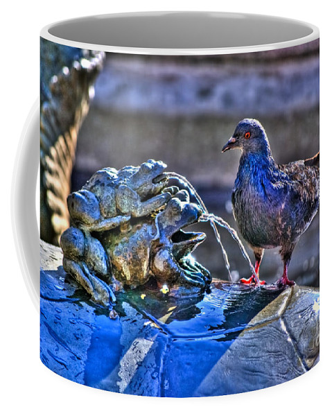 Fountain Coffee Mug featuring the photograph Frogs And A Pigeon by Diego Re