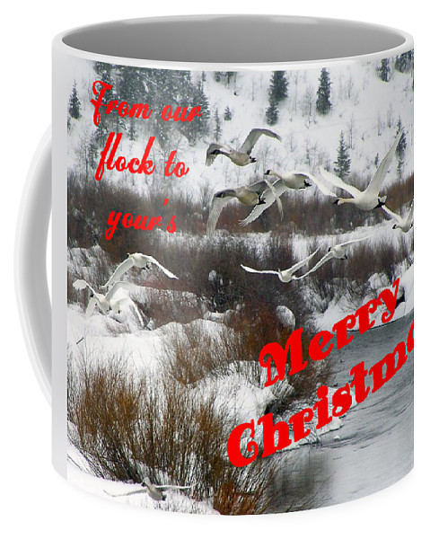 Christmas Cards Coffee Mug featuring the photograph From Our Flock To Yours by DeeLon Merritt