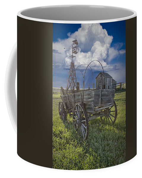Art Coffee Mug featuring the photograph Frontier Farm In 1880 Town by Randall Nyhof