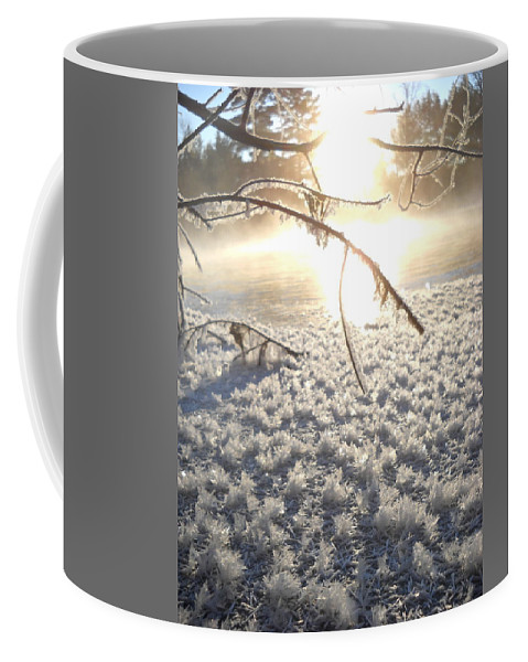 Frost Coffee Mug featuring the photograph Frosty Ice At Sunrise by Kent Lorentzen