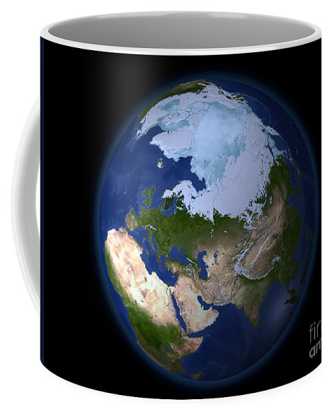 Africa Coffee Mug featuring the photograph Full Earth Showing The Arctic Region by Stocktrek Images