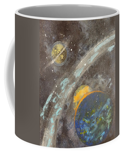 Coffee Mug featuring the painting Galactic Dust by Ronald Brischetto