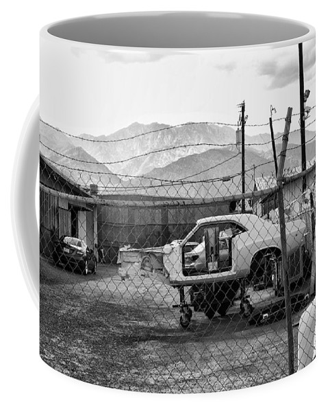 Palm Springs Coffee Mug featuring the photograph Garage Days Bw by William Dey