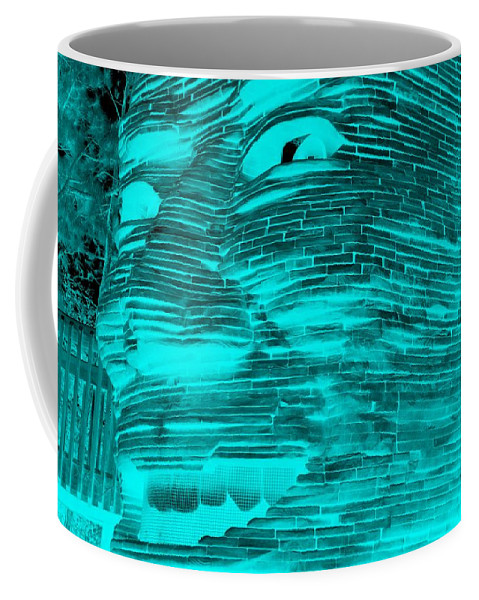 Architecture Coffee Mug featuring the photograph Gentle Giant In Negative Turquois by Rob Hans