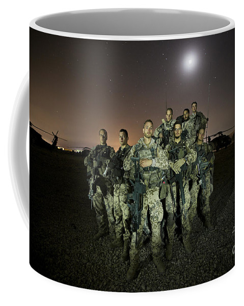 Provincial Reconstruction Team Coffee Mug featuring the photograph German Army Crew Poses by Terry Moore