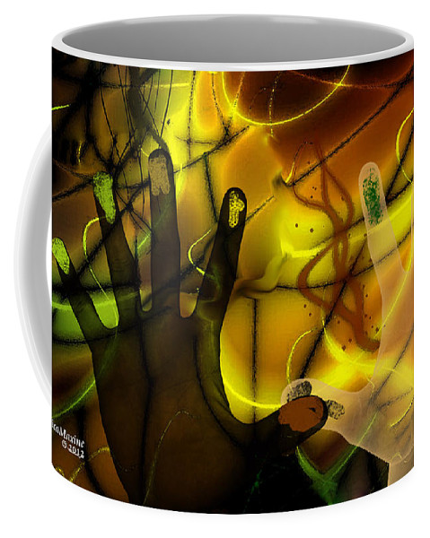 Hands Coffee Mug featuring the digital art Get Together - Fingerpainting by Ericamaxine Price