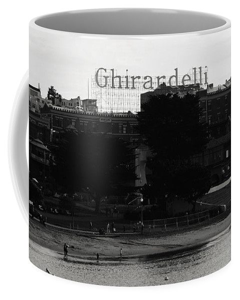 Ghirardelli Square Coffee Mug featuring the photograph Ghirardelli Square In Black And White by Linda Woods