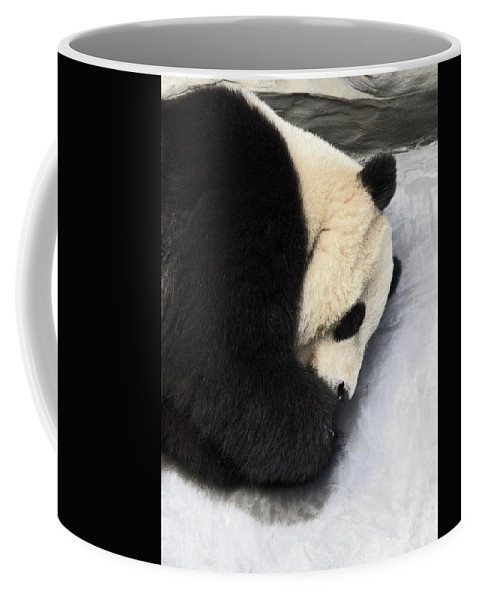 Giant Panda Bear Lying On Ground Coffee Mug featuring the photograph Giant Panda Portrait by Sally Weigand