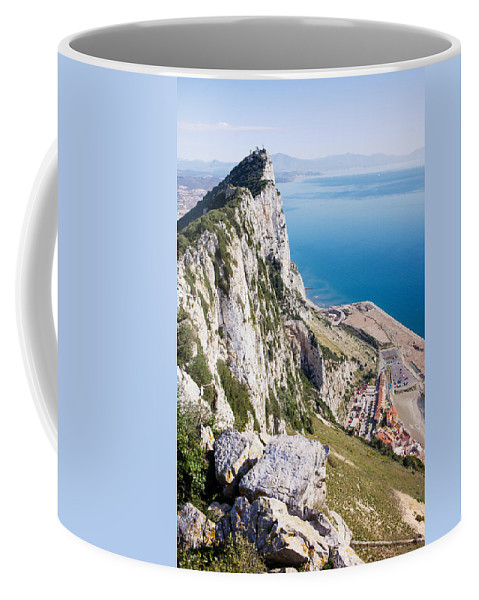 Gibraltar Coffee Mug featuring the photograph Gibraltar Rock And Mediterranean Sea by Artur Bogacki