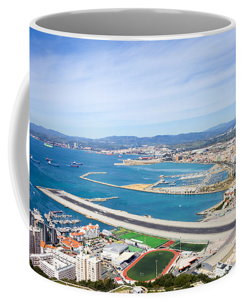 Gibraltar Coffee Mug featuring the photograph Gibraltar Runway And La Linea Cityscape by Artur Bogacki