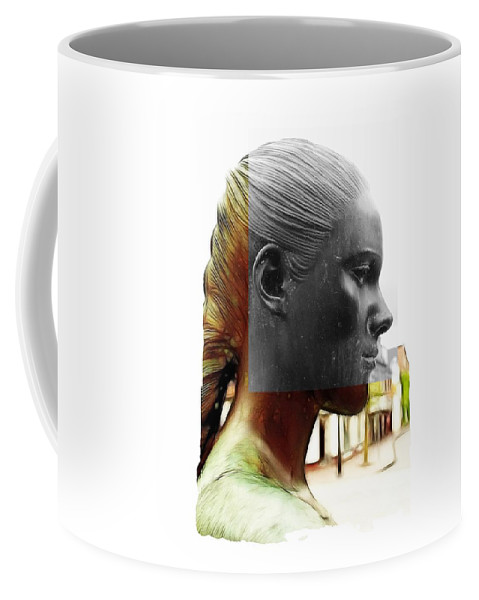 Girl Statue Female Woman Portrait Black White Bw Drawing Painting Color Colorful Expressionism Bronze Face Beauty Coffee Mug featuring the mixed media Girl Statue by Steve K