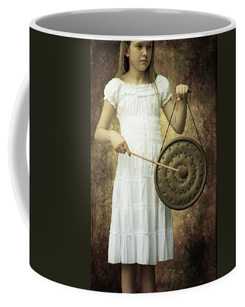 Girl Coffee Mug featuring the photograph Girl With Gong by Joana Kruse