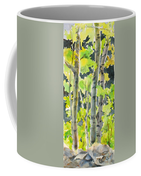 Coffee Mug featuring the painting Glittering Poplars by Mohamed Hirji