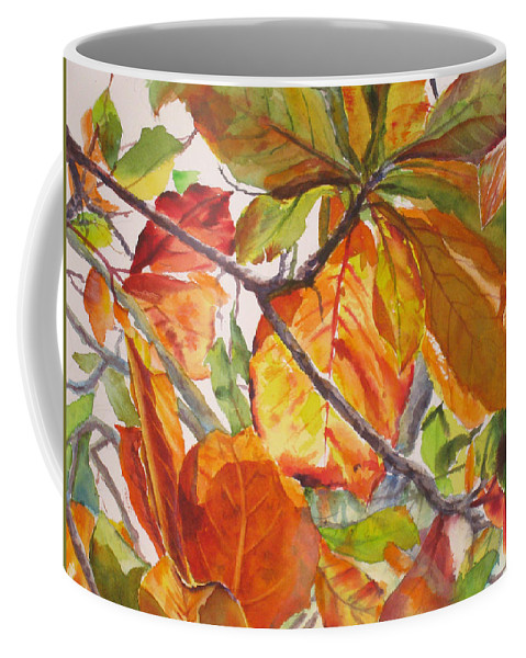 Leaves Coffee Mug featuring the painting Glowing by Mohamed Hirji