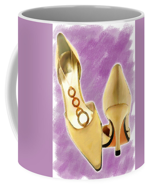 Shoes Heels Pumps Fashion Designer Feet Foot Shoe Stilettos Painting Paintings Illustration Illustrations Sketch Sketches Drawing Drawings Pump Stiletto Fetish Designer Fashion Boot Boots Footwear Sandal Sandals High+heels High+heel Women's+shoes Graphic Sophisticated Elegant Modern Coffee Mug featuring the painting Golden Circle Straps by Elaine Plesser