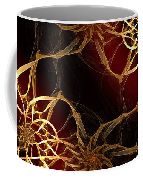 Andee Design Abstract Coffee Mug featuring the digital art Golden Filigree by Andee Design