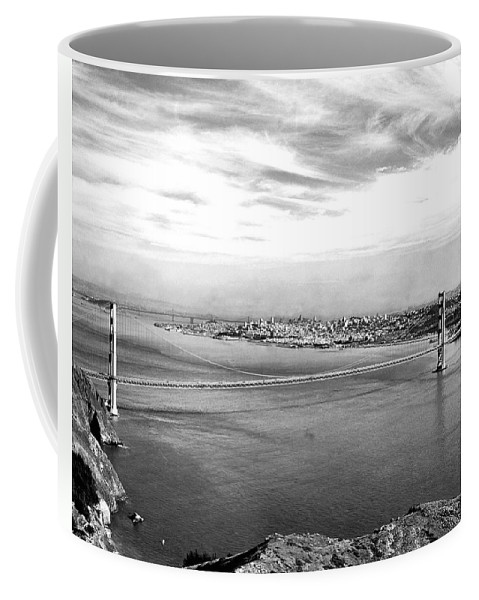 B And W Coffee Mug featuring the photograph Golden Gate Bridge by Underwood Archives