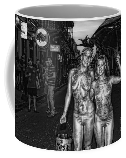 Girls Coffee Mug featuring the photograph Golden Girls Of Bourbon Street - Black And White by Kathleen K Parker