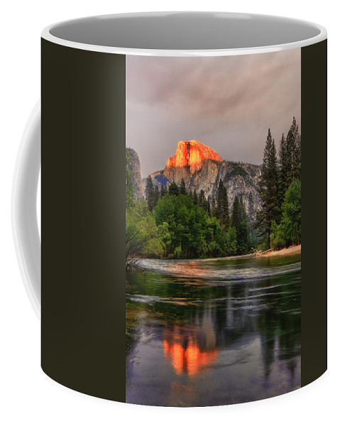 Halfdome Coffee Mug featuring the photograph Golden Light On Halfdome by Beth Sargent