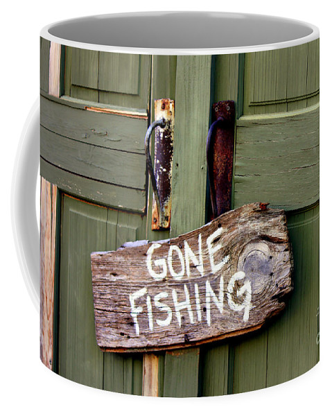 Sign Coffee Mug featuring the photograph Gone Fishing by Kathy White