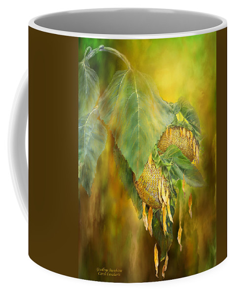 Sunflower Coffee Mug featuring the mixed media Goodbye Sunshine by Carol Cavalaris