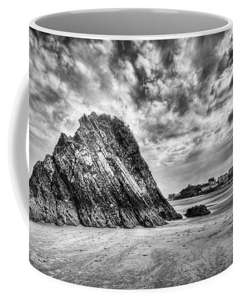 Goscar Rock Tenby Coffee Mug featuring the photograph Goscar Rock Tenby 2 Mono by Steve Purnell