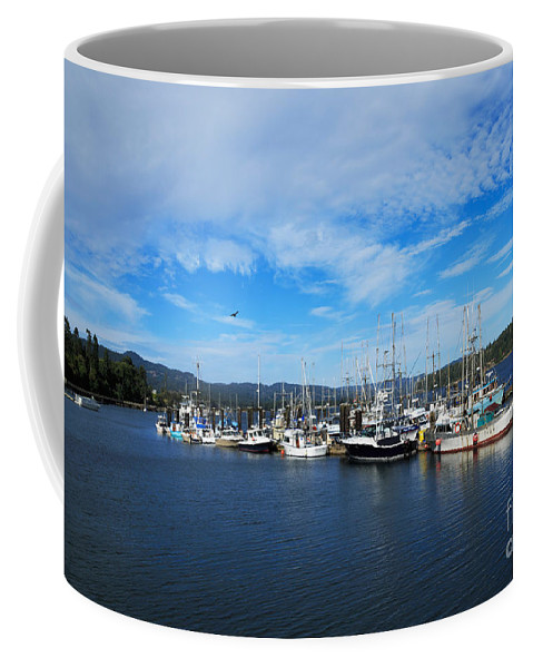 Boats Coffee Mug featuring the photograph Government Wharf In Sooke Harbour by Louise Heusinkveld