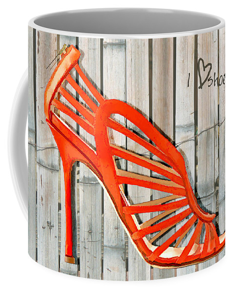 Shoes Heels Pumps Fashion Designer Feet Foot Shoe Stilettos Painting Paintings Illustration Illustrations Sketch Sketches Drawing Drawings Pump Stiletto Fetish Designer Fashion Boot Boots Footwear Sandal Sandals High+heels High+heel Women's+shoes Graphic Sophisticated Elegant Modern Coffee Mug featuring the painting Graffiti Orange Cage Stilettos by Elaine Plesser