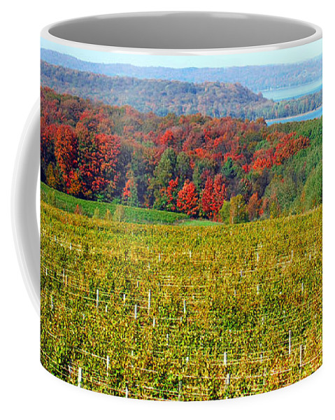Grand Traverse Winery In Autumn Coffee Mug featuring the photograph Grand Traverse Winery In Autumn by Optical Playground By MP Ray