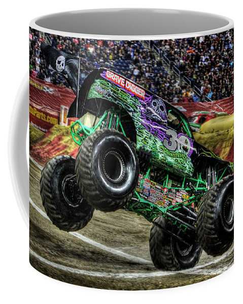Coffee Mug featuring the photograph Grave Digger At Ford Field Detroit Mi by Nicholas Grunas
