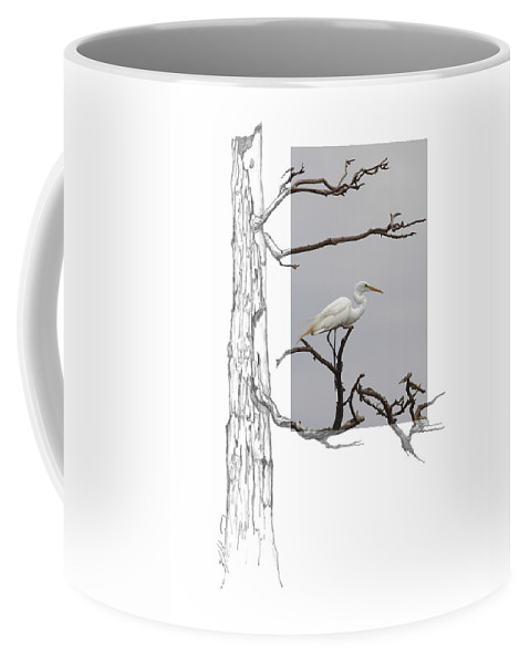 Great Egret Coffee Mug featuring the photograph Great Egret - Gnarled Tree by Andrew McInnes