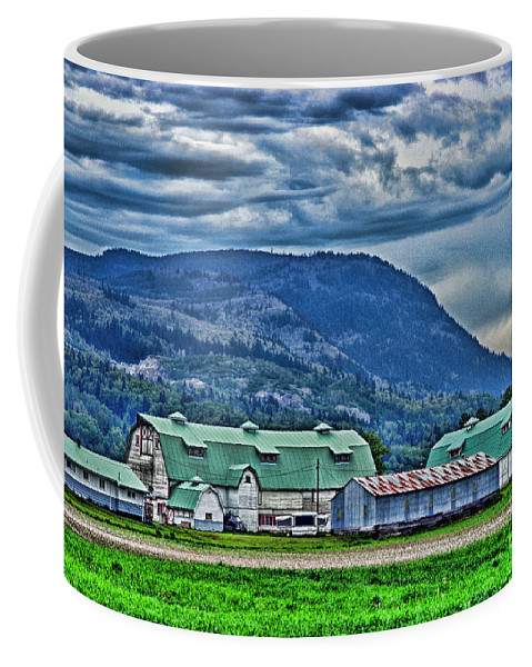 Barns Coffee Mug featuring the photograph Green Roofed Barn-hdr by Randy Harris