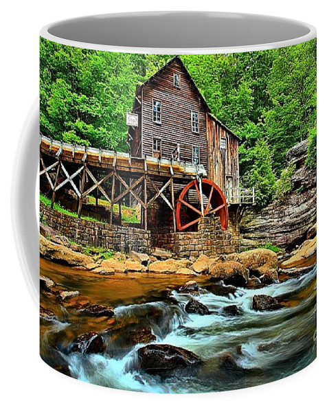 Babcock State Park Coffee Mug featuring the photograph Grist Mill At Babcock by Adam Jewell