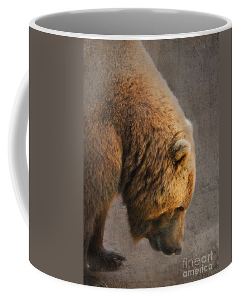 Bear Coffee Mug featuring the photograph Grizzly Hanging Head by Betty LaRue