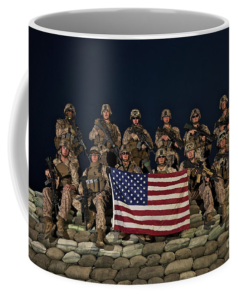 Bunker Coffee Mug featuring the photograph Group Photo Of U.s. Marines by Terry Moore