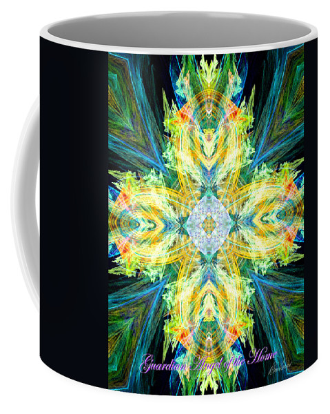 Angel Coffee Mug featuring the digital art Guardian Angel Of The Home by Diana Haronis