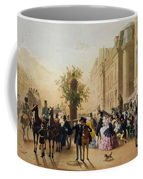 1856 Coffee Mug featuring the photograph Guerard: Cafe Tortoni, 1856 by Granger