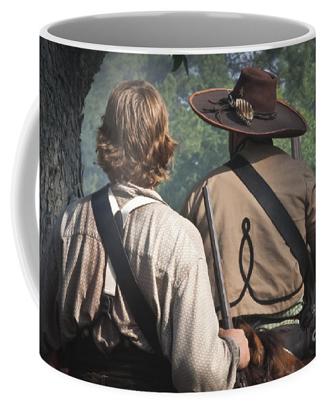 Reenactments Coffee Mug featuring the mixed media Guns By Our Side We Ride by Kim Henderson