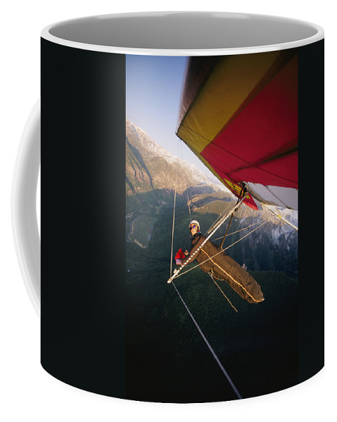 Feats Of Daring Coffee Mug featuring the photograph Hang Gliding With Wing-mounted Camera by Skip Brown