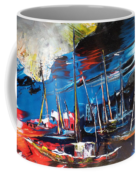 Landscapes Coffee Mug featuring the painting Harbour In Spain by Miki De Goodaboom