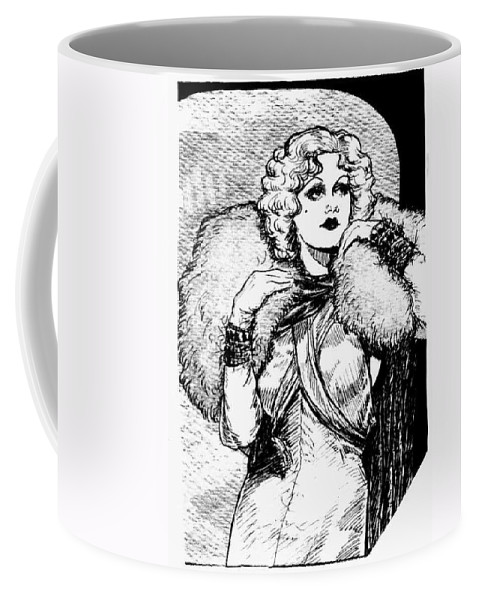 Nostalgia Coffee Mug featuring the drawing Harlow Black And White by Mel Thompson