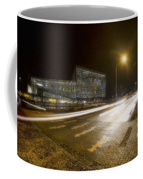 Harpa Conference Center Coffee Mug featuring the photograph Harpa Center Time Exposure by Sven Brogren