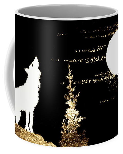 Harvest Coffee Mug featuring the photograph Harvest Moon And Coyote 2 by Marilyn Hunt
