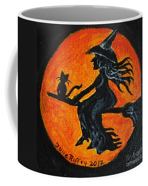 Witch Coffee Mug featuring the painting Harvest Moon by Julie Brugh Riffey