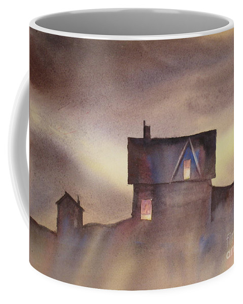 Halloween Card Coffee Mug featuring the painting Haunted by Mohamed Hirji